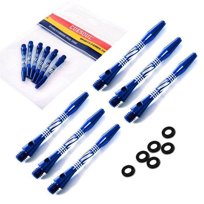 Бесплатная доставка Cuesoul 2 комплекта 2BA средний синий Алюминий Dart Валы с orings Дарт стебли 6 шт.