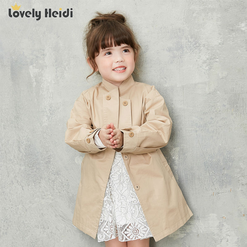 girls trench coat children coat 2016 autumn spring Long outwear kids jackets casual style khaki winter