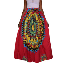 2017 Robe Africaine Autumn And Winter Fashion Hot Explosion Models Africa Totem Printing Large Swing Skirt Pleated With Belt