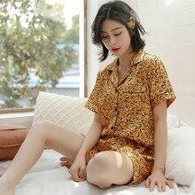 Satin Pajamas for Women Summer Sexy V-neck Silk Sleepwear Ladies Two Pieces Pyjama Set Yellow Red Leopard Print pijama mujer