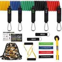 Guía de potencia 16 piezas bandas de resistencia conjunto de tubos de látex de Fitness banda de lazo de goma para entrenamiento de resistencia Crossfit, gimnasios de Yoga