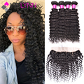 mslynn Peruvian Deep Wave Ear To Ear Lace Frontal Closure With Bundles,4 Bundles With Lace Frontal,Soft Human Hair With Closure
