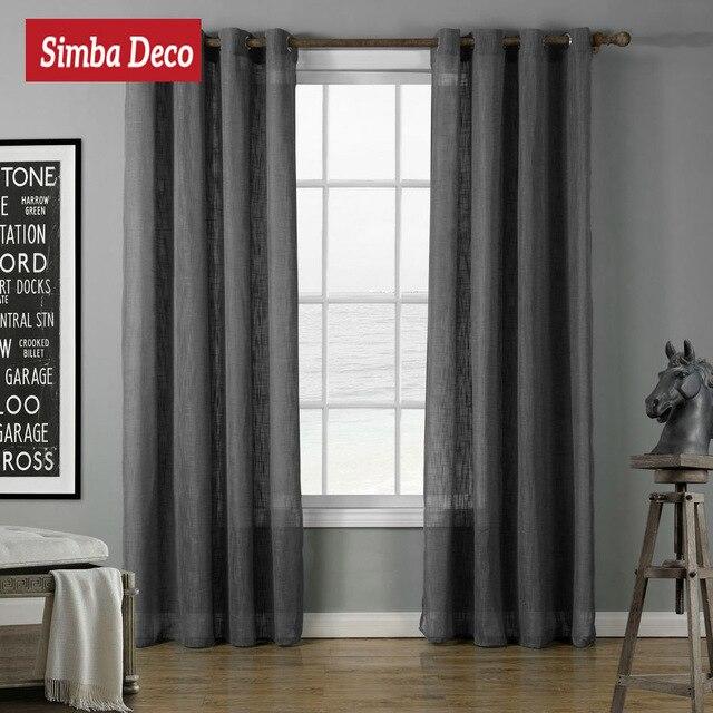Solide Fenêtre Tulle Rideaux pour Salon Gris Moderne Sheer Faux ...