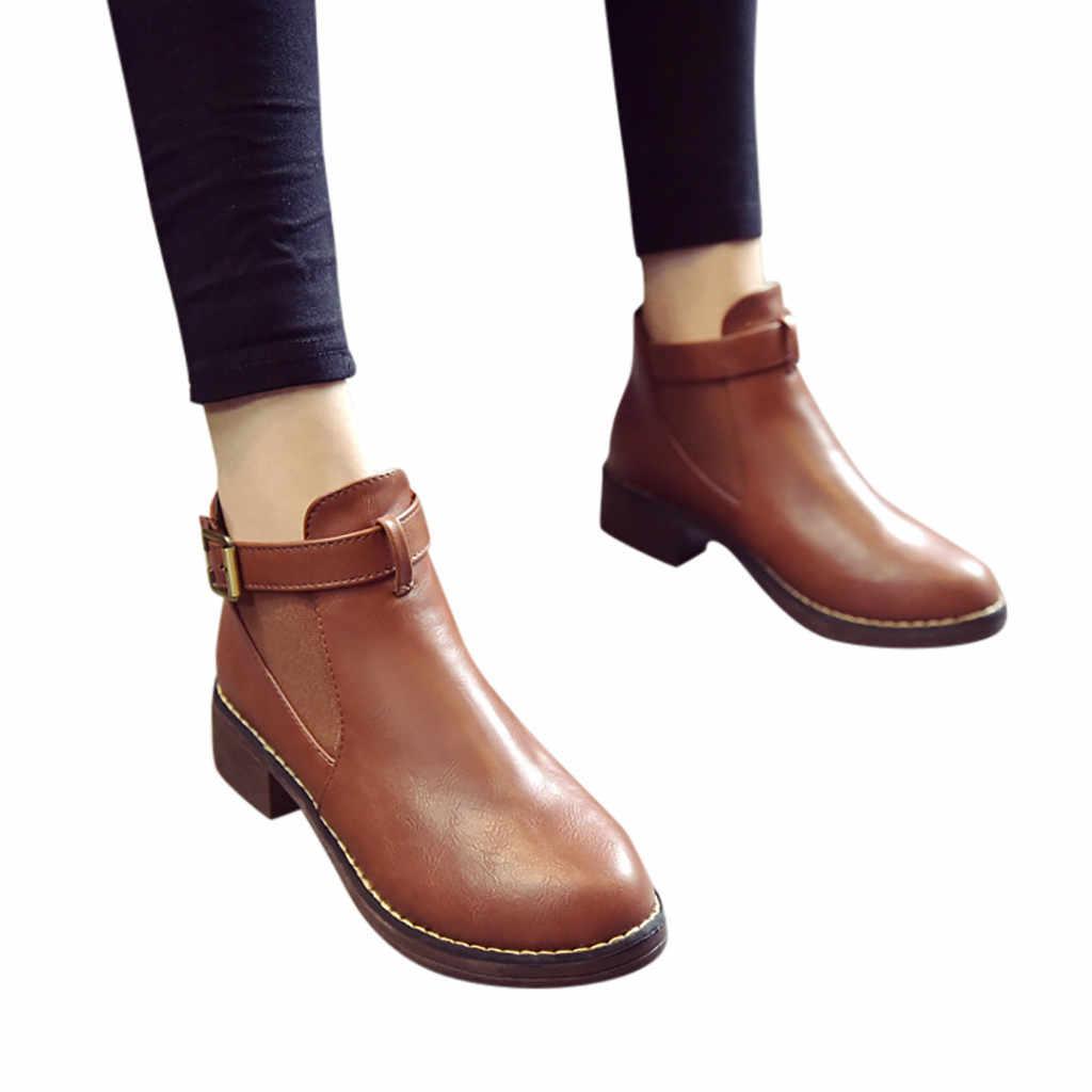 YOUYEDIAN/2019 г. обувь, женские Ботинки, Ботильоны на среднем каблуке, женская обувь с ремешком и пряжкой, короткие ботинки с круглым носком, botas mujer invierno # G35
