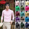 DJGRSTER 2016 New Mens Pure color Shirt Long Sleeve Lapel Casual Male Shirt Slim Fit Business Dress Shirts Clothing 17 colors