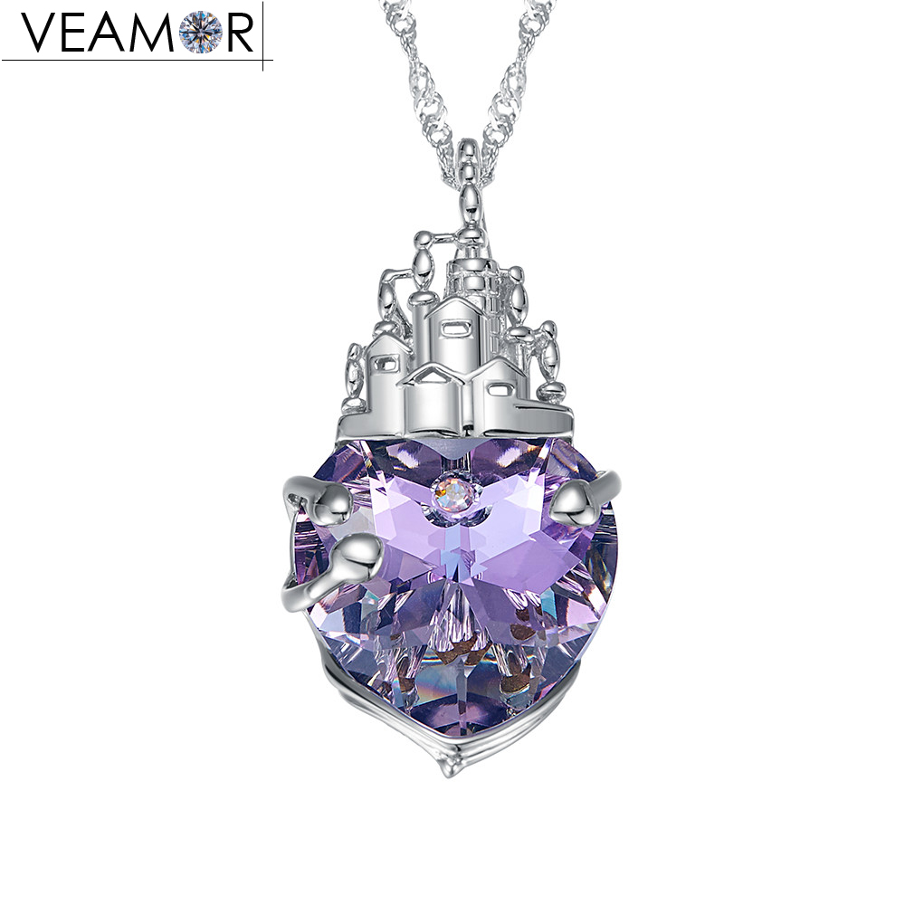 Veamor genuine silver 925 tower women necklace penddent crystals from Australia girls fashion jewelry