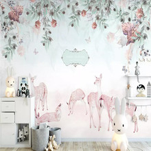 Custom 3D photo wallpaper Nordic pastoral fresh flowers elk sofa TV background mural home decoration