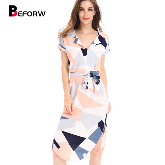 c03e1eeeeafd BEFORW Summer Beach Dress Women Fashion Multicolor Printing Maxi Dresses  High Quality Sexy V Neck Vintage Long Dress Vestidos