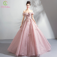 SSYFashion Новое роскошное кружевное вечернее платье сладкие розовые аппликации Бисероплетение длиной до пола элегантные вечерние платья плат