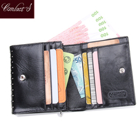 New Fashion Small Wallets Real Genuine Leather Women Wallet Bifold Purses High Quality Zipper Design Coins