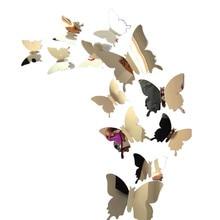 12pcs/set Mirror Wall Stickers Decal Butterflies 3D Mirror Wall Art Home Decors butterfly fridge wall decal on sale