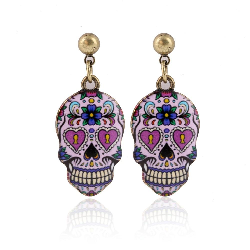 Halloween Skull Earrings Celebrate Mexican Day Of The Dead Sugar Skull Earring