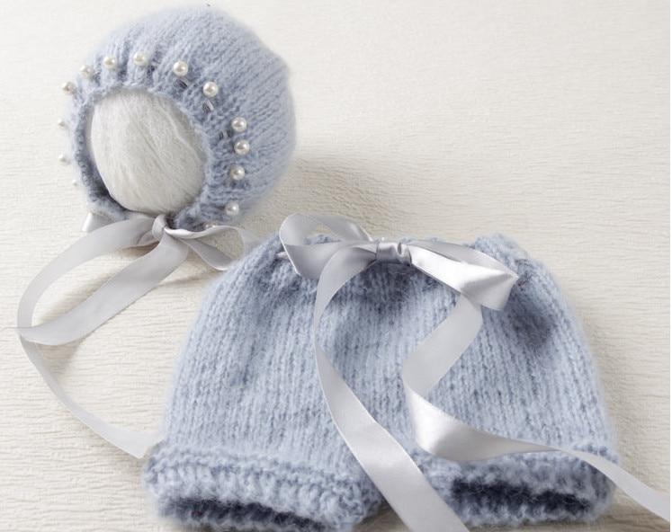 Mohair hlače i šeširić u sivoj boji Novorođeni fotografski rekviziti, novorođenče pleteni moher
