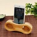 Volumen del Sonido de Música de Madera Natural de Bambú fuerte Carga Estación de Acoplamiento cargador de noche escritorio del sostenedor del soporte para iphone 7 6 6 s Plus