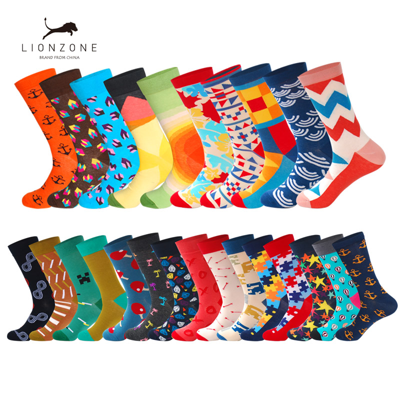 Hot Selling Spring Men Combed Cotton   Socks   With Striped Many-Sided Figure Art Jacquard Hit Color Long Dot Happy   Socks   2Pairs