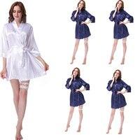 5 Piece Suit Women Silk Satin Wedding Bride Bridesmaid Robe Kimono Style Fashion Pajamas Short Robe Sleepwear Rayon Bathrobe LP