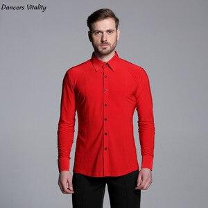 Image 2 - 2017 männer reine farbe Latin Dance Lange Ärmel Shirts Moderne Cha cha Dance Walzer Latin Dance Männer Moderne wettbewerb Kleid
