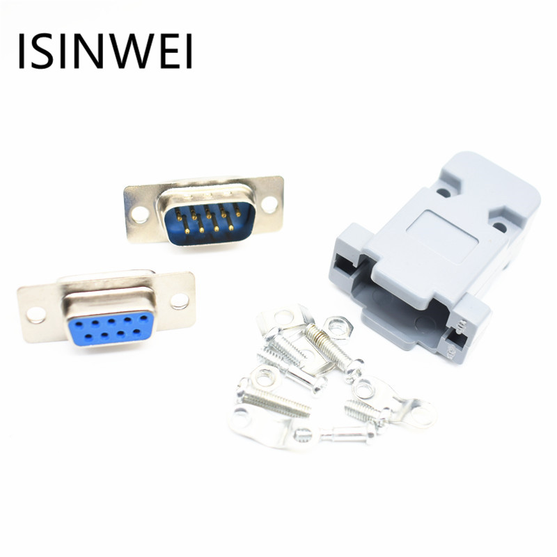 RS232 Serial Port Connectors DB9 Female Male Socket Shell Plastic Plug Connector 9pin COM Socket Adapter db9 male female adapter signals terminal module rs232 serial to terminal db9 connector