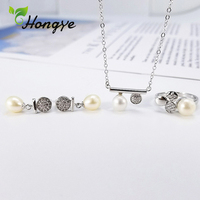 Hongye Natural Pearl Ring 3 PCs Fashionable Silver 925 Jewelry Set Women Classic Adjustable Zircon Necklaces Wedding Jewelry Kit