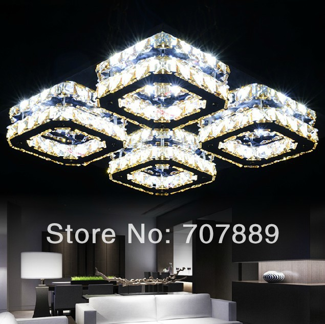 Modern LED Crystal Ceiling Lamp Living room Lighting Lustre Home Decoration Lights Fixture Ceiling Surface Mounted Free shipping