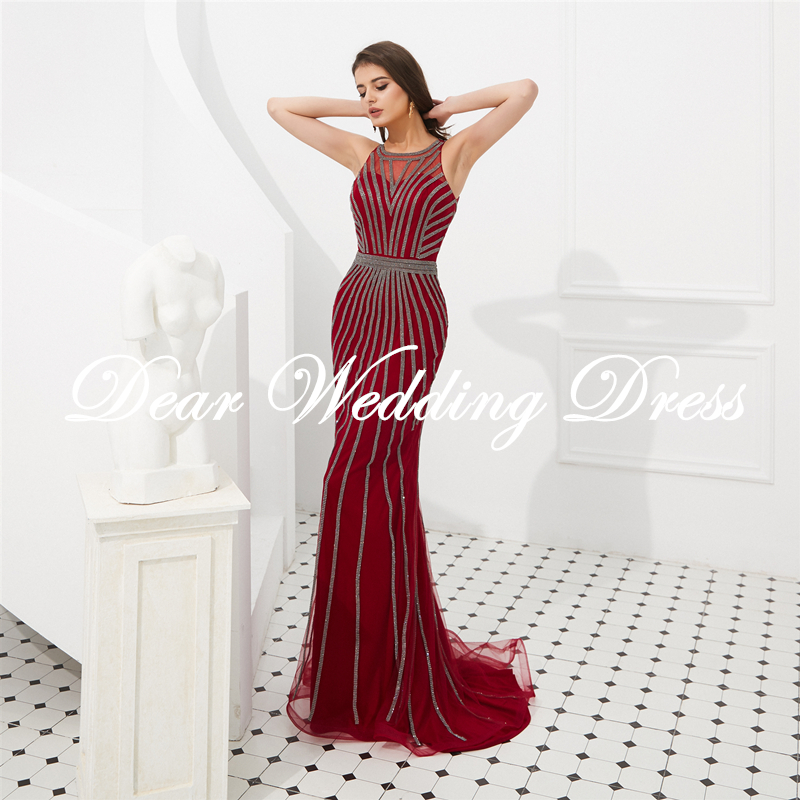2019 Elegant Crystal Evening Dresses Mermaid jewel Sleeveless Sweep Train Party Prom Gowns Plus Size Special Occasion Dresses