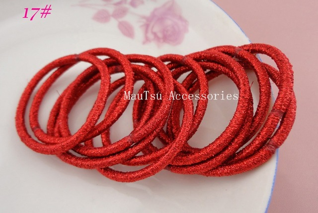50PCS 4mm Hot Red glitter elastic hair bands ponytail holders with gluing  connection 223afc806f47