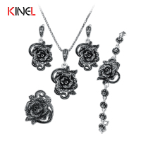 KineL Brand Rose Flower Black Crystal Jewelry Set Plating Ancient Silver 4Pcs Sets Vintage Wedding Jewelry