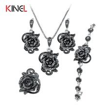 Kinel марка розы черный кристалл комплект ювелирных изделий покрытие древний серебряный 4 шт./компл. винтаж свадебные украшения для женщин