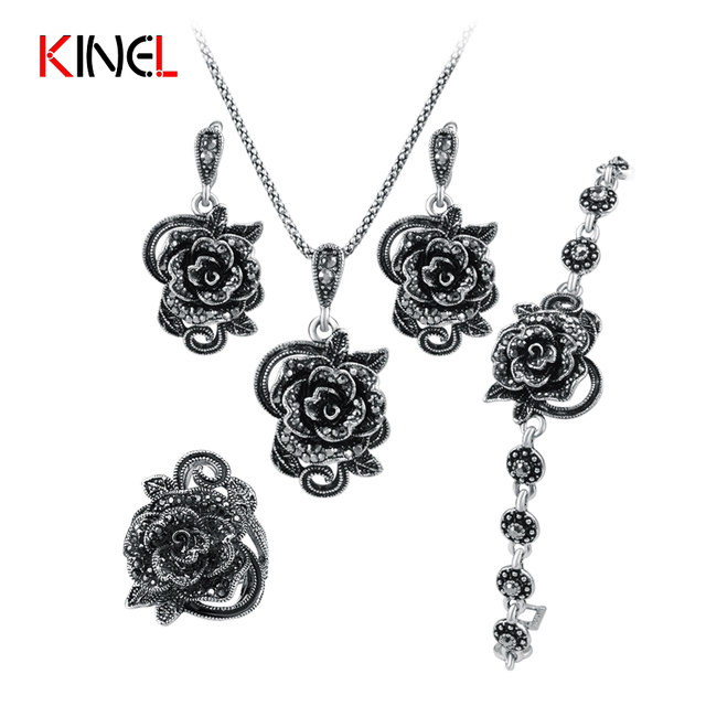 KineL Brand Rose Flower Black Crystal Jewelry Set Plating Ancient Silver 4Pcs/Se