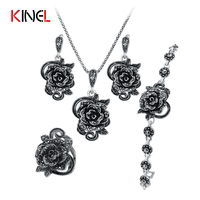 KineL Brand Rose Flower Black Crystal Jewelry Set Plating Ancient Silver 4Pcs Sets Vintage Wedding Jewelry