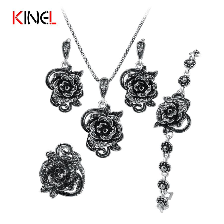 Kinel marke rose blume schwarz kristall schmuck-set plating alte silberne 4 teile/sätze vintage hochzeit schmuck für frauen