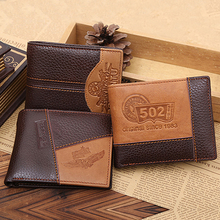 Men Coffee Full-Grain Leather Bifold Wallet Credit Card Holder Slim Coin Purse BW7E