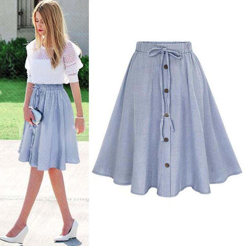 Sommer Frauen Rock Vintage Streifen Print Lace-up-Taste Hohe Taille Röcke Plissee Baumwolle Midi knielanges röcke