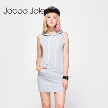 Jocoo Jolee Women Summer Hooded Drawstring Dress Gray Sleeveless Straight Solid Color S~XL Feminino Vestidos Girls Casual Pocket
