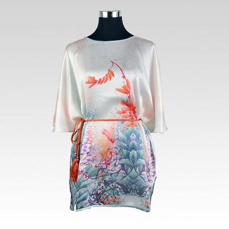 SISULI 100 Silk Blouse Natural Silk Fabric Flowers Printed Women New 2018 Summer Autumn Modis Top