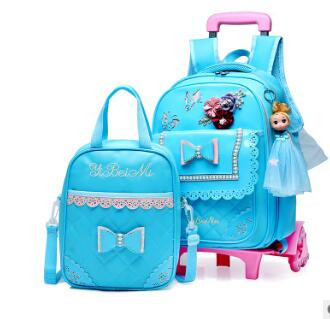 PU School Trolley backpacks bags Children school bag with wheels for girl kids luggage Rolling Bags wheeled Backpacks for Girls pink school bags hot girl s princess backpacks for teenagers children kids nylon 3d student backpacks 33 28 10 cm aw84