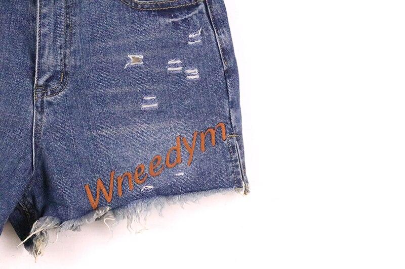 Agujeros Casual Omchion Lnz30 Mujeres Fringe Cortos Caliente Pantalones Primavera 2018 Verano Nueva Azul Denim Bordado Letra Vaqueros vqPrvzwZ