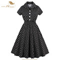 Sishion plus size dress xl-5xl mulheres verão polka dot vestidos de manga curta balanço 50 s retro pinup do vintage dress vestidos 0466