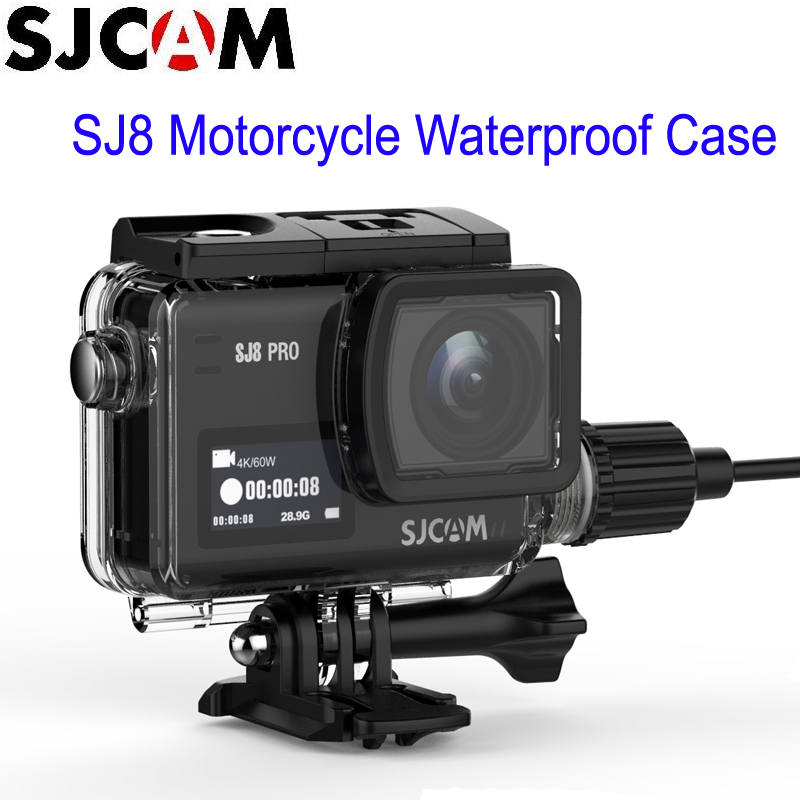 SJCAM SJ8 Series Motorcycle Waterproof Case with USB C Cable for SJ8 Pro SJ8 Plus SJ8 Air 4K Action Camera Accessories-in Sports Camcorder Cases from Consumer Electronics