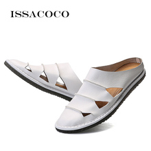 ISSACOCO Summer Men Genuine Leather Slippers Beach Casual Sandals Flip Flops Shoes Homw EU Size 39-47 Pantuflas