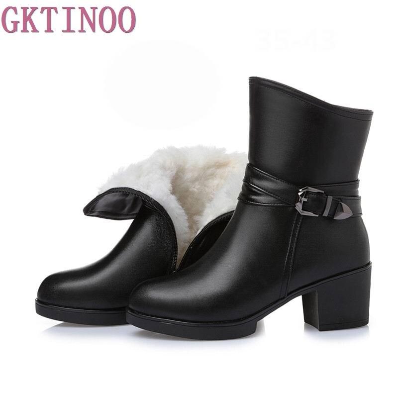 Новые женские зимние сапоги до середины икры, однотонные, на толстом высоком каблуке, обувь из натуральной кожи, женские теплые плюшевые сап...
