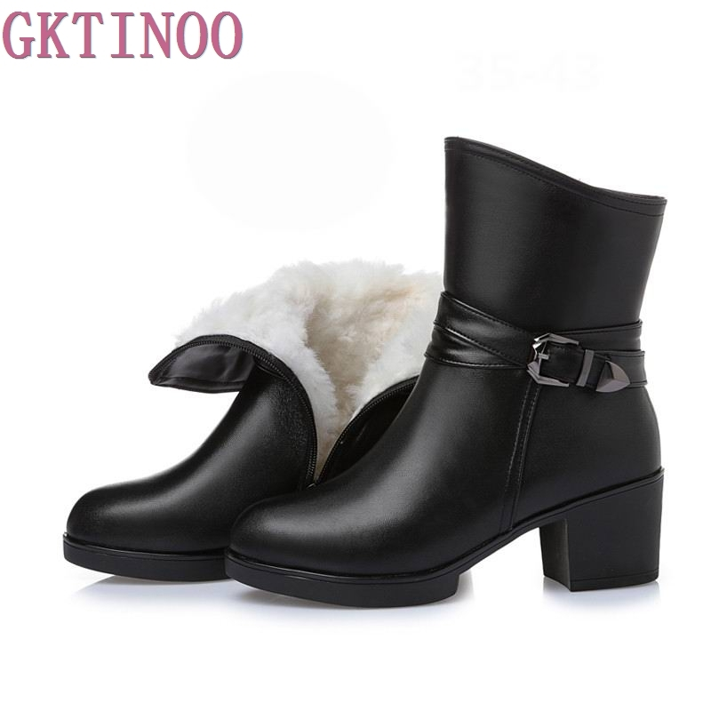 New Women Winter Snow Boots Mid-Calf Solid Thick High Heels Genuine Leather Shoes Women Warm Plush Boots Ladies Plus Size 35-43
