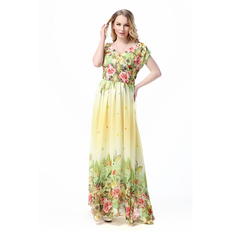 a673c20326467 زائد الحجم الشيفون ماكسي فساتين النساء vestidos L-7XL البوهيمي المرقعة الصيف  فستان زهري مثير الخامس الرقبة الطابق طول شاطئ اللباس