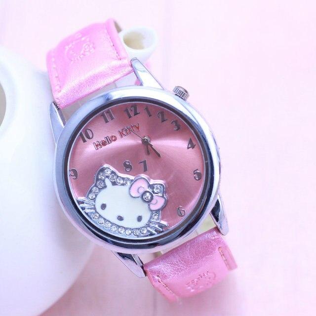 Hello Kitty Watch Cartoon Clock Girl Children Lovely Wrist Watches Kids Cute Chi