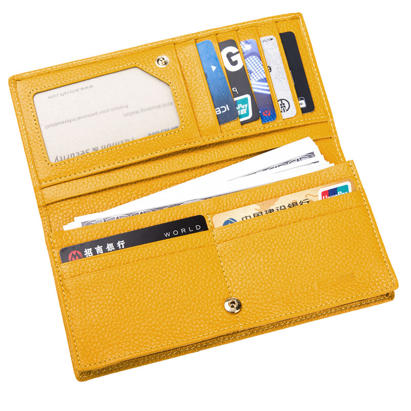 FancyStyle Yellow Long Ladies RFID Blocking Leather Wallet Clutch Bifold Checkbook Purse Nappa Genuine Leather Gift