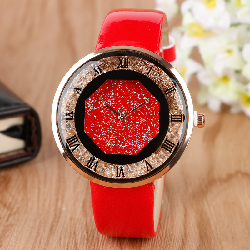 Special Design Blink Crystal Ladies Watches Elegant Fashion Style Red Leather Band Strap Wrist Watch Women Female For Gift проза русской литературы до 1917 г эксмо 978 5 699 67995 9