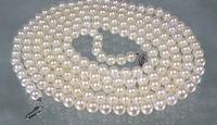 Подлинная AAA + 5.5 6 мм круглый белый Akoya Жемчужное ожерелье 32 > украшения Бесплатная доставка