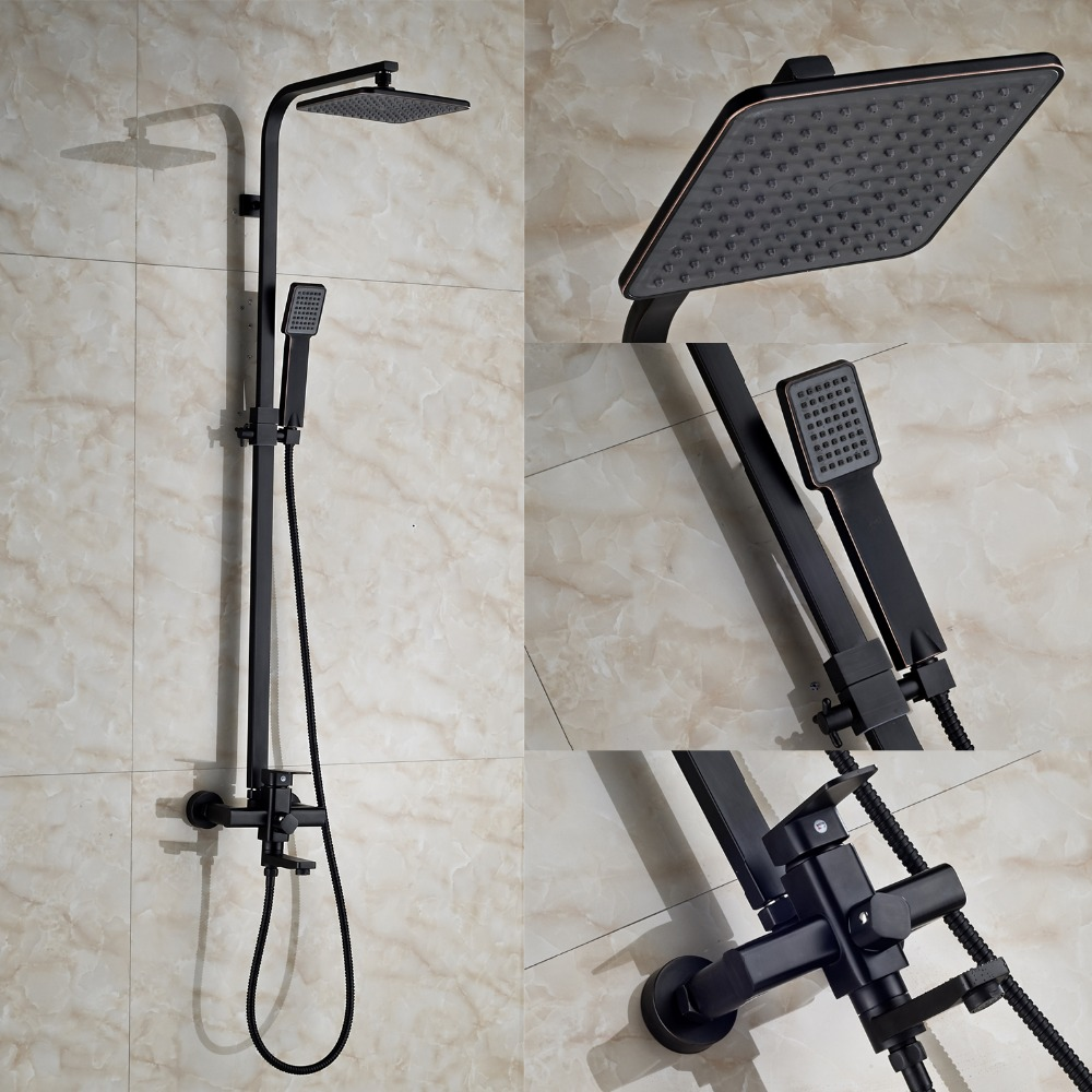 Oil Rubbed Bronze Bathroom Set Faucet 8 Shower Head + 59 Shower Hose + Hand Sprayer