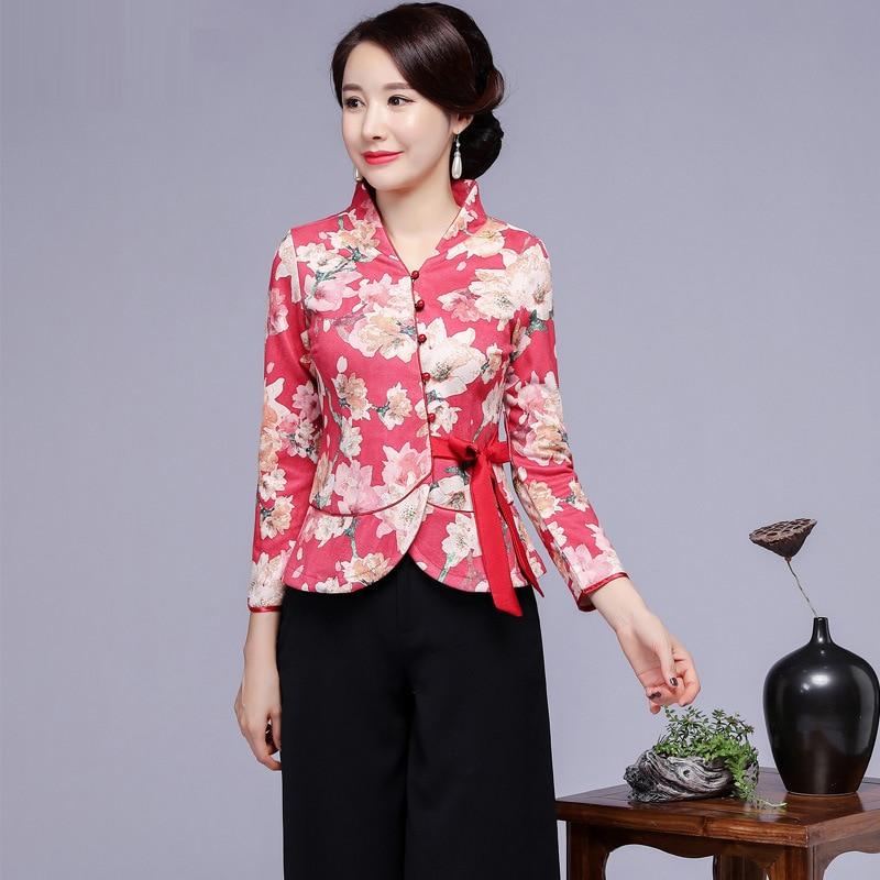 Vintage femmes amélioration fleur Tang vêtements Sexy Slim à manches longues chemise automne imprimé Blouse Style chinois vêtements grande taille 4XL - 5