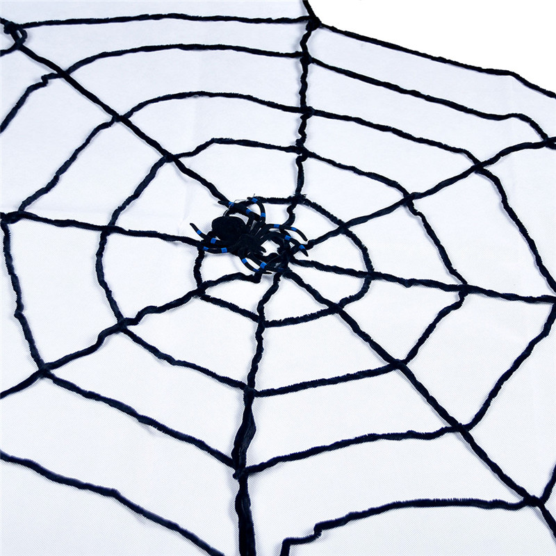 Black Wool Lines Window Giant Cobwebs Spider Web Christmas Party Cosplay Halloween Decoration Props Joking Toy Haunted House